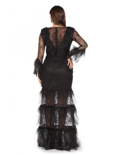 Pierre Cardin Kolları Volanlı Uzun Abiye Elbise Siyah